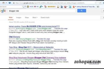 """Hasil carian di google dengan kata kunci """"blogger otai"""""""