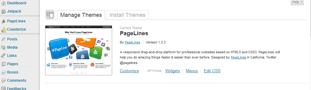 wordpress theme pagelines
