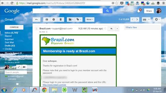 emel pengesahan dihantar berserta dengan user name dan password