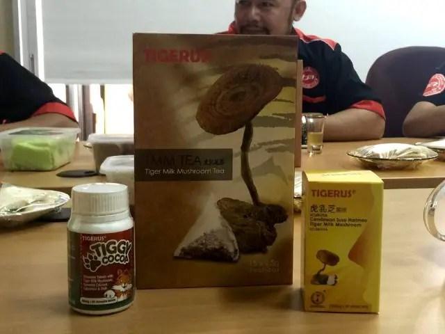 3 produk utama Tigerus yang berasaskan Cendawan Susu Harimau