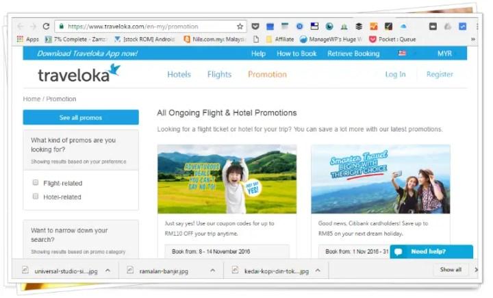 Laman Sesawang Traveloka