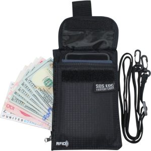 Hidden Neck / Pocket RFID Blocking Travel / Everyday Carry Anti-Theft Passport Belt Wallet / Pouch by SOS EDC™ - Never Lose Your Wallet Again!