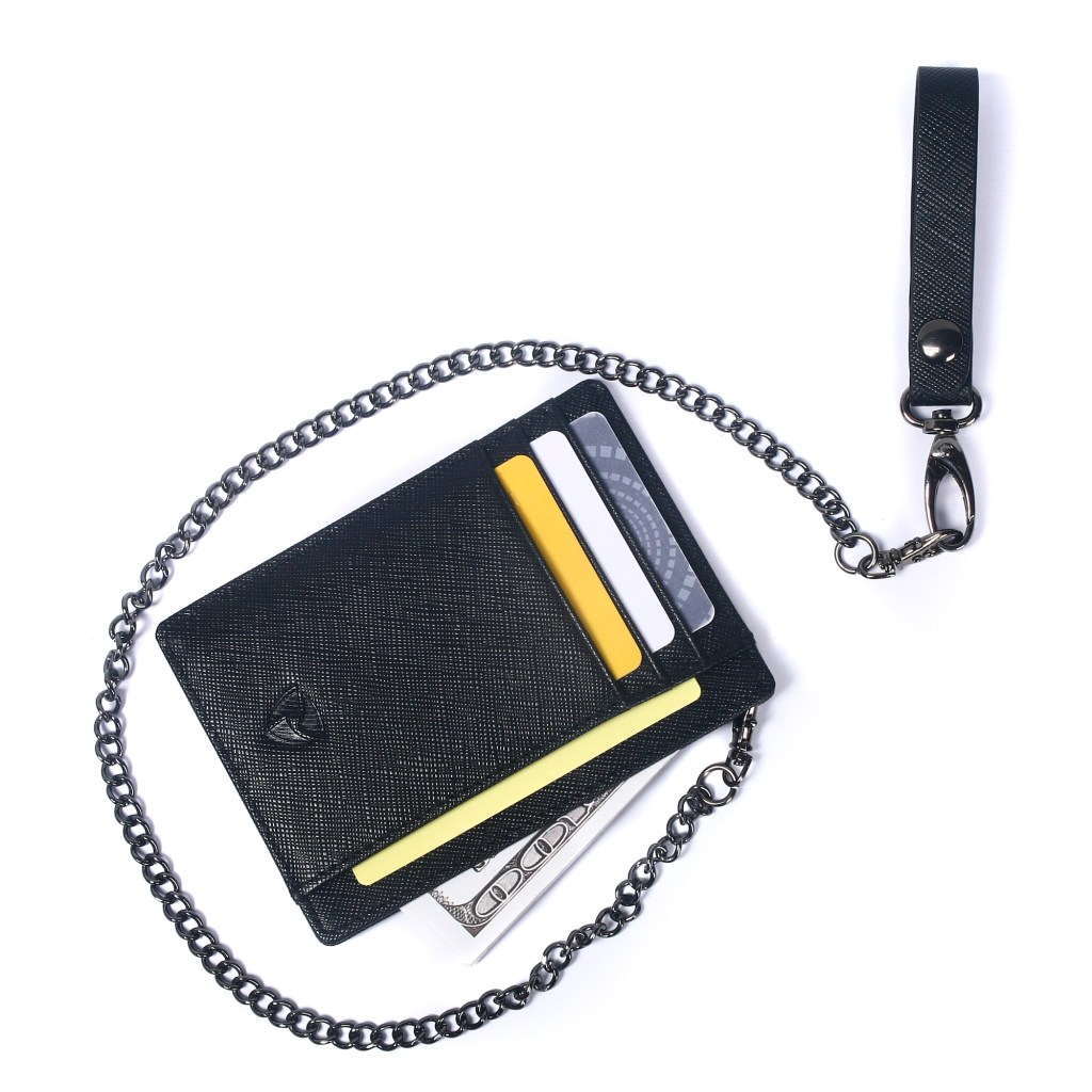 SOS EDC™ Minimalist Saffiano Leather RFID Blocking Anti-theft Card Holder Wallet with Removable Chain