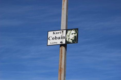 Panneau annonçant l'entrée dans au parc mémorial de Kurt Cobain