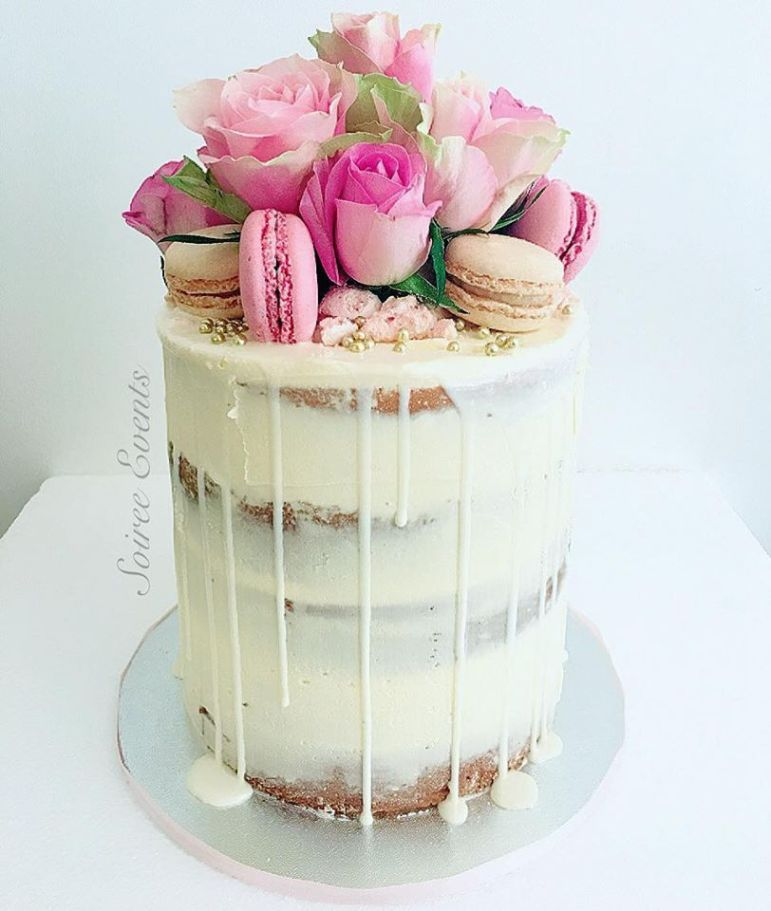 Incredible Semi Naked Drip Cake With Fresh Roses And Macarons Soiree Personalised Birthday Cards Paralily Jamesorg