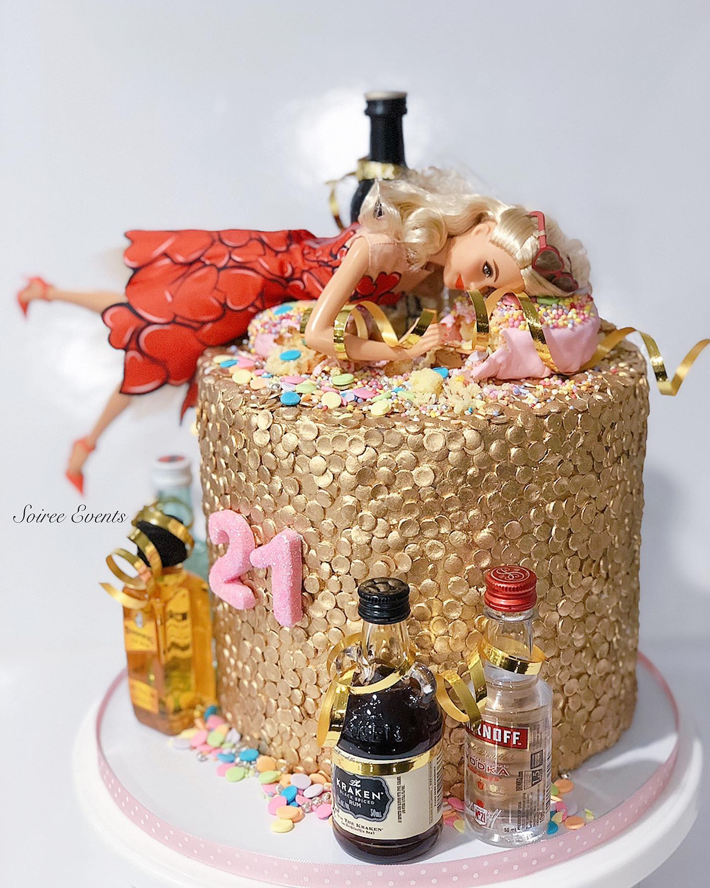 Cool Kylie Jenners 21St Birthday Barbie Cake Soiree Funny Birthday Cards Online Overcheapnameinfo