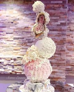 Geode crystal and textured marble stone sphere stack cake