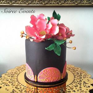 black and pink lace cake