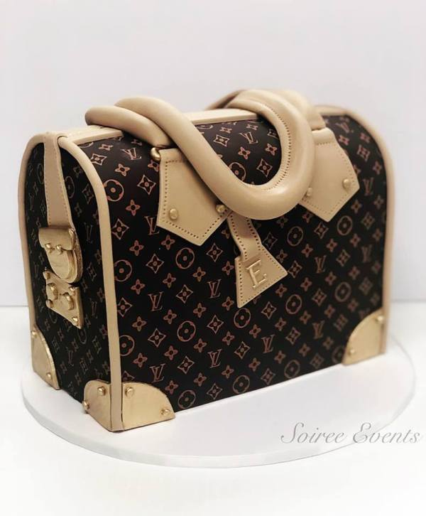 brown canvas louis vuitton speedy monogram handbag cake