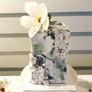 concrete textured buttercream cake with bas relief