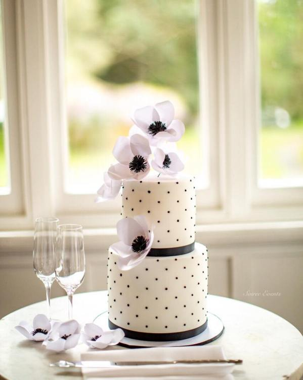 Black and white swiss dot 2 tier cake