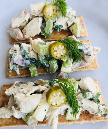 Chicken Salad Tartine, Pickled Okra