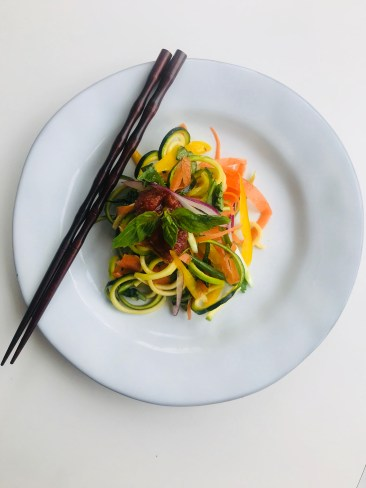 Spicy Asian Raw Zoodle Stir Fry