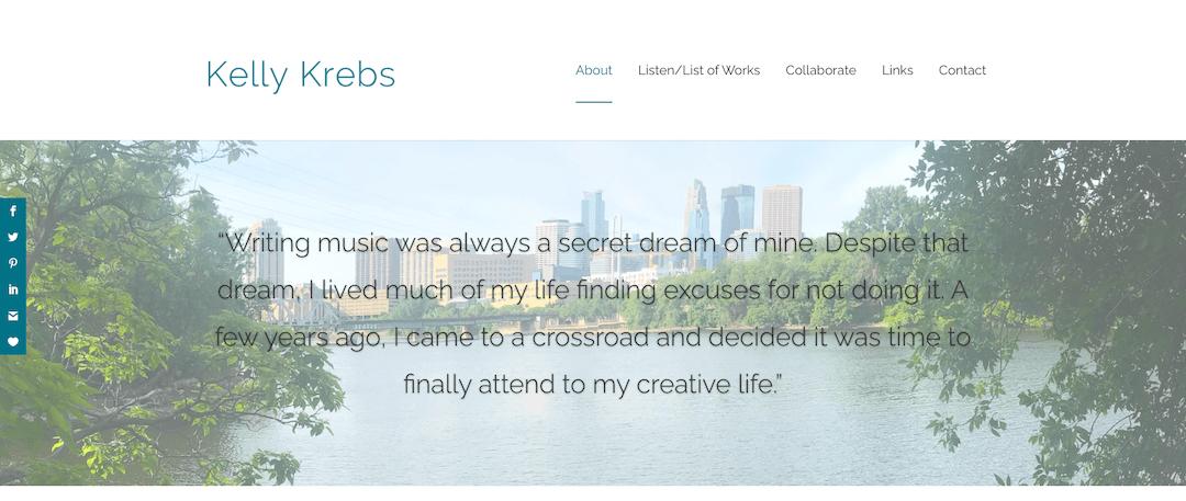 Kelly Krebs website, by So It Goes Design