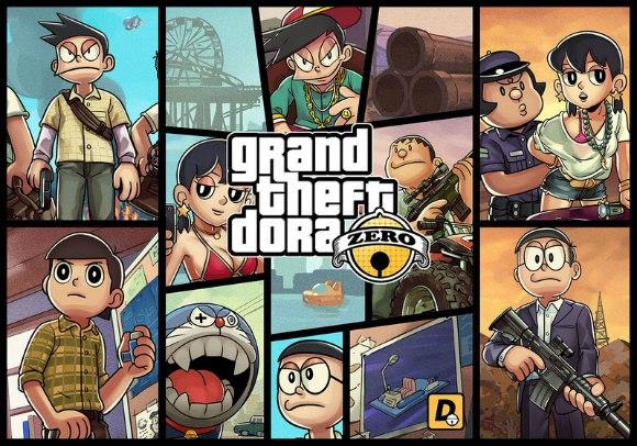 [ANIME] Doraemon and Grand Theft Auto V inspire awesome crossover art