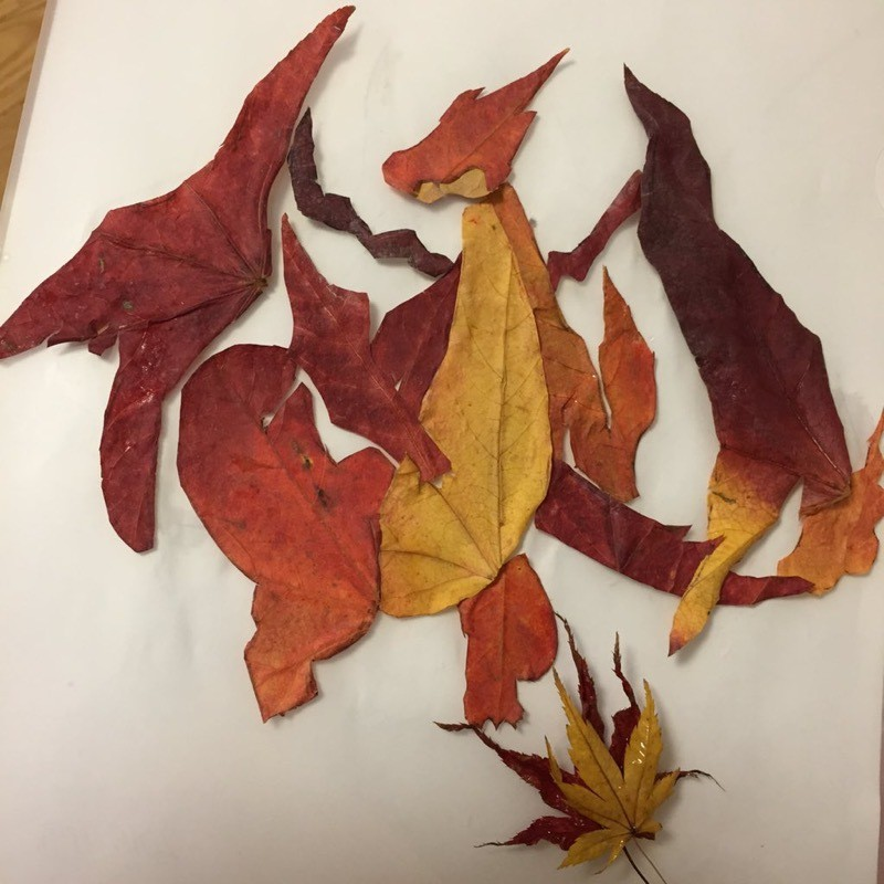 [RANDOM] You can actually make Charizard and Charmander out of autumn leaves