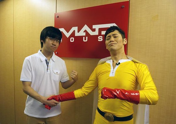 Makoto Furukawa (caped) with Animation Director Kubota