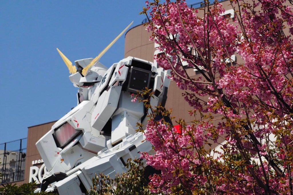 You can now enjoy Sakura-viewing with the life-size Unicorn Gundam