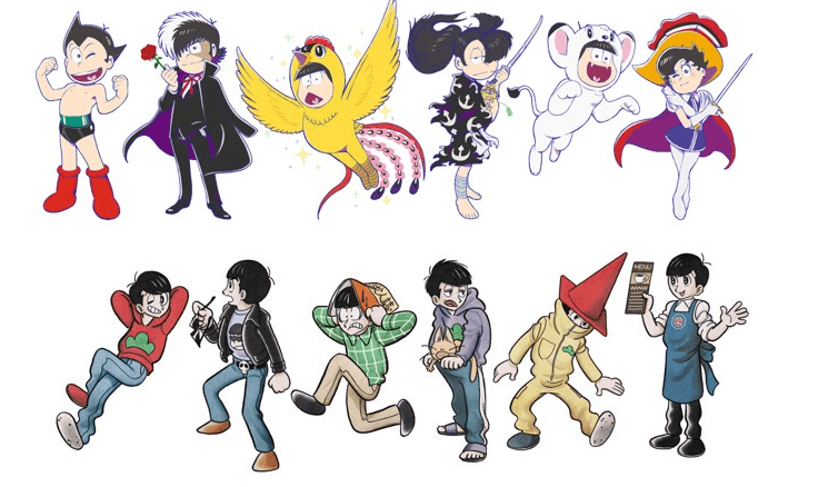 Mr. Osomatsu's sextuplets cosplay as Tezuka characters for collaboration