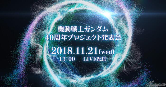 Gundam 40th Anniversary announcement to happen live on 21st November