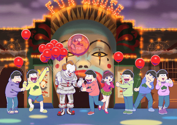 Matsuno sextuplets meet Pennywise in surprising Mr. Osomatsu x IT collab