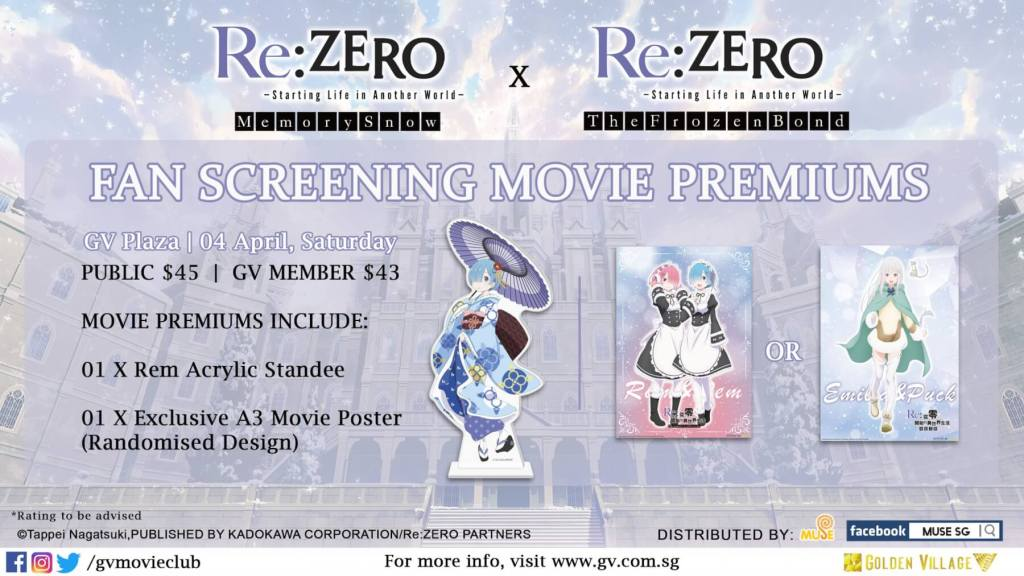 [POSTPONED] Back-to-Back Re:Zero Film Fan Screenings Slated in SG!