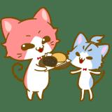 おはぎを食べるロゼとシアン