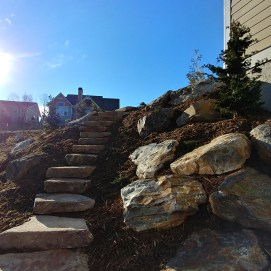 Stone Stairs and Boulder Installation