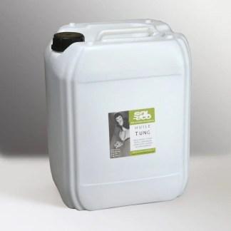 Bidon plastique de 20 litres d'huile pure Tung (abrasin ou huile de bois de Chine) pour protéger le bois.