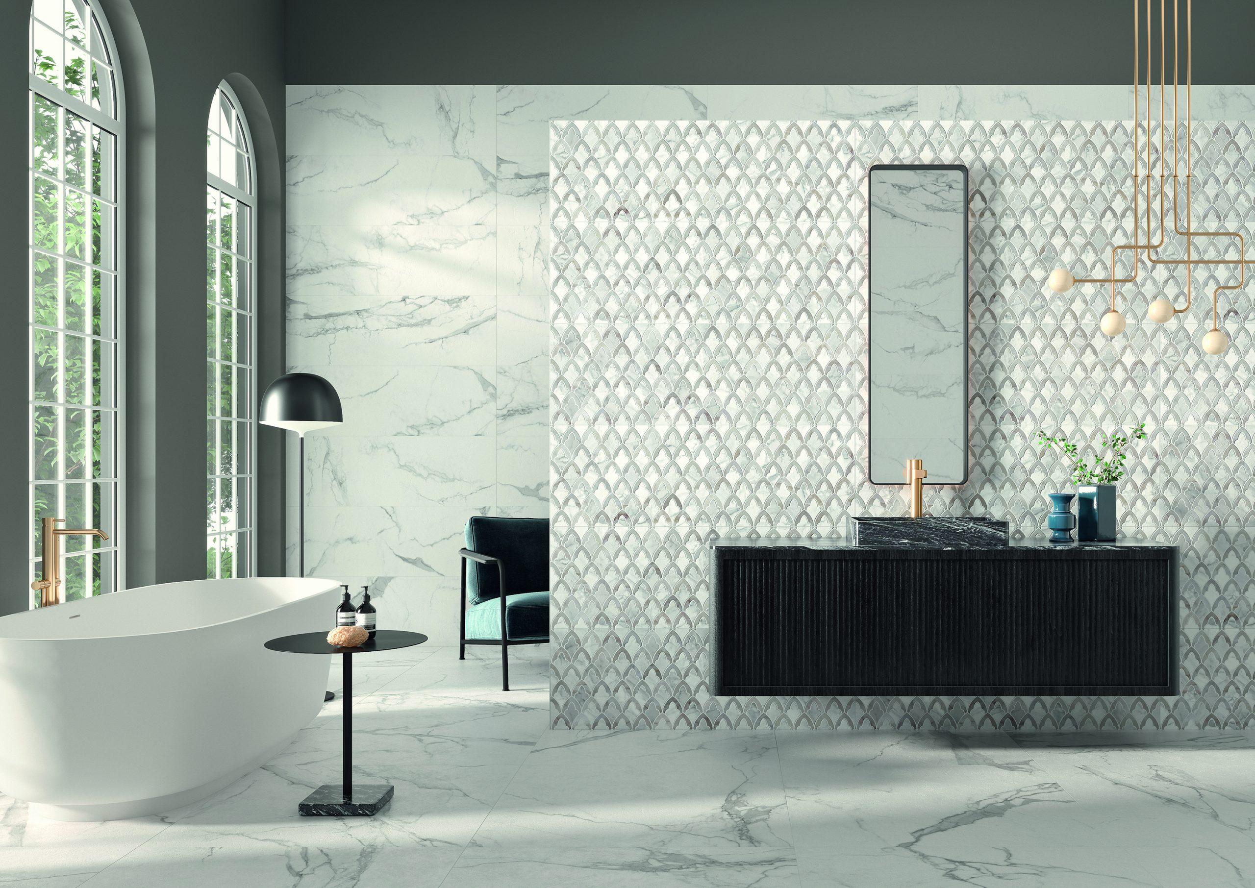 white marble mimic kitchen bath