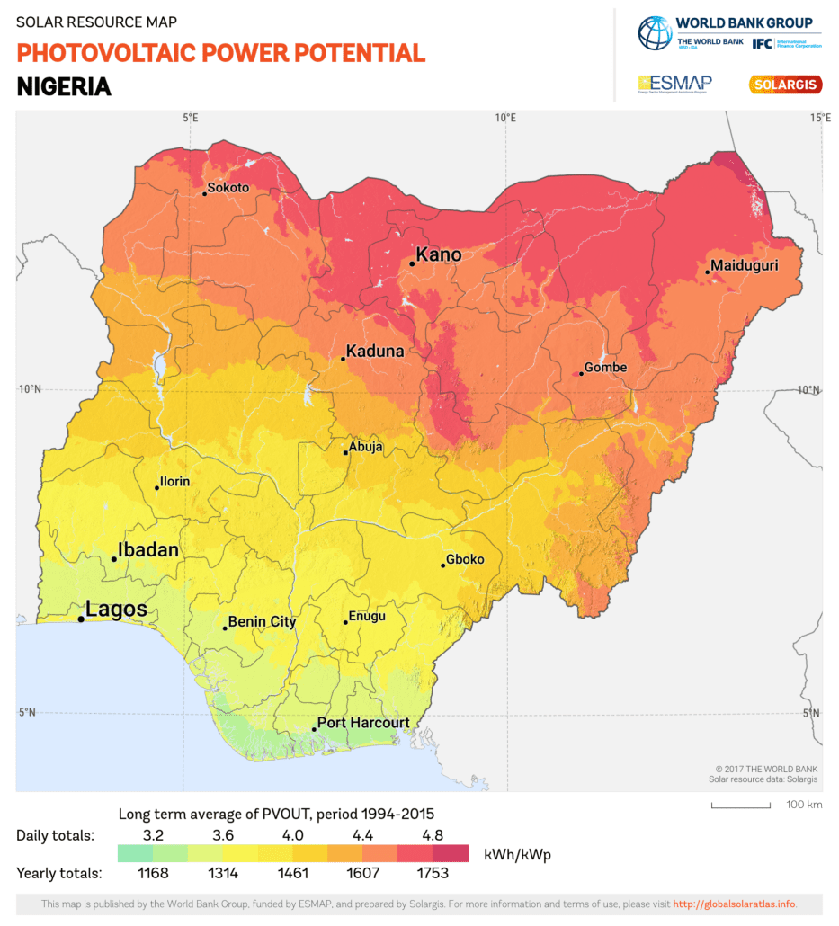 Nigeria solar irradiance levels. Source: Global Solar Atlas, owned by the World Bank Group and provided by Solargis.
