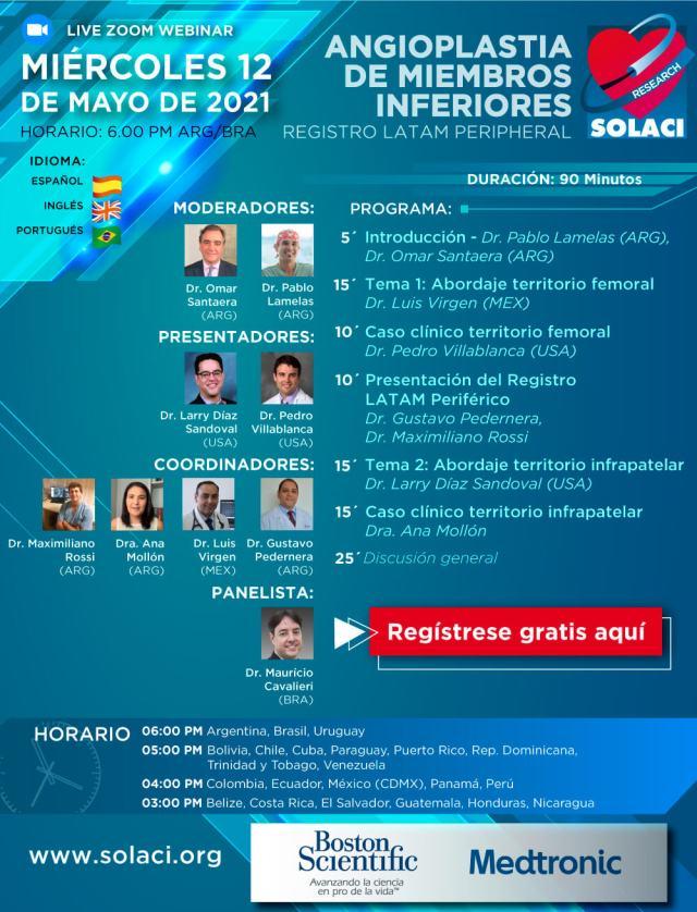 Webinar SOLACI Research: Angioplastia de Miembros Inferiores. Registro LATAM Peripheral