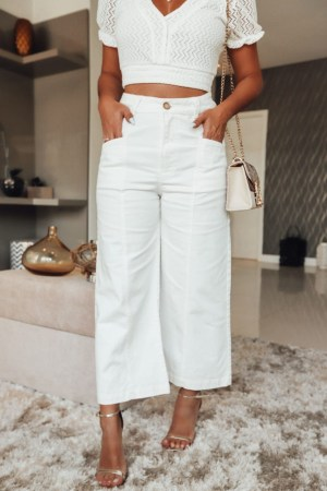 CALÇA PANTACOURT OFF WHITE JEANS