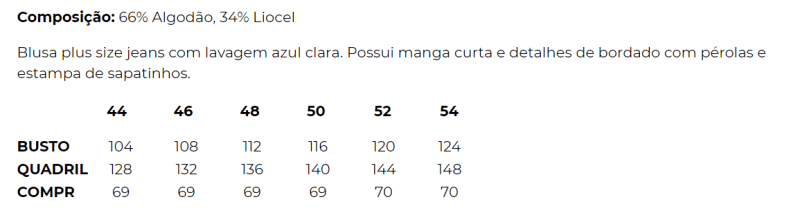 BLUSA JEANS TENCEL ESTAMPADA E BORDADA