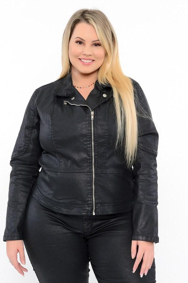 JAQUETA MOTOQUEIRA SARJA BLACK RESINADO