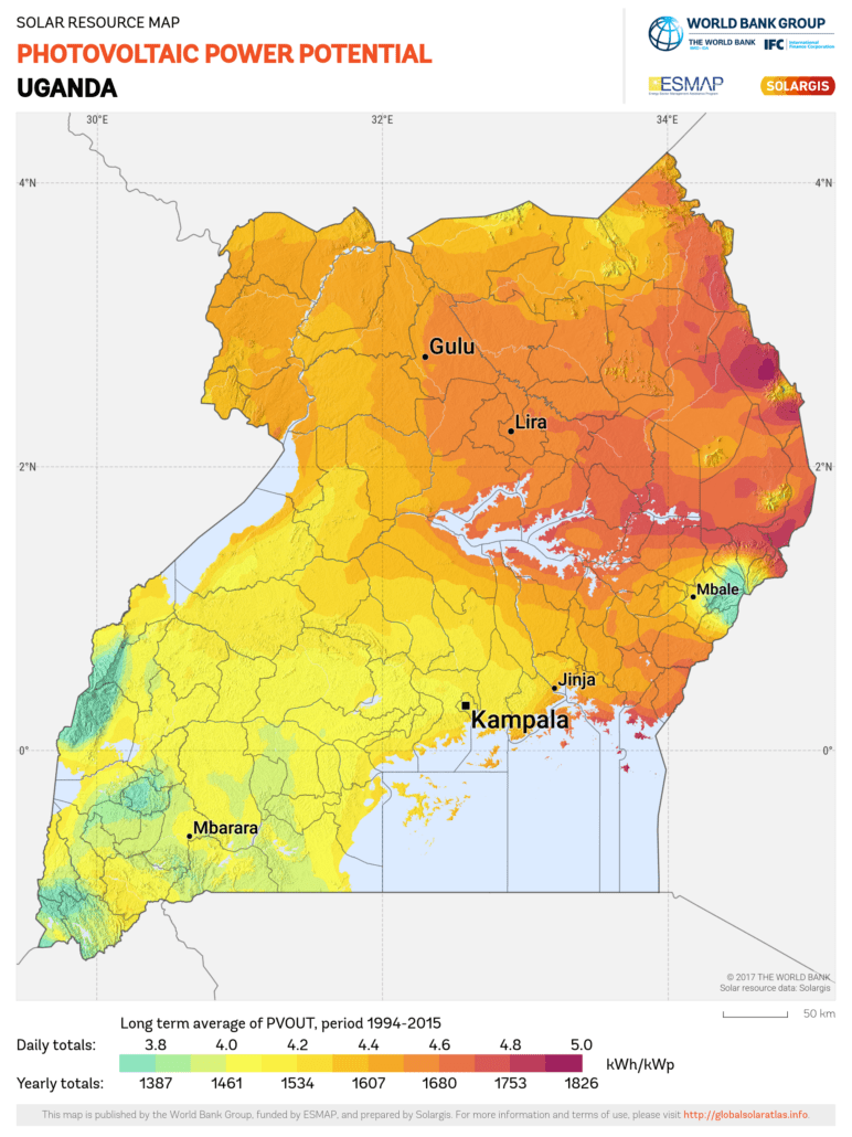 Uganda solar irradiance levels Global Solar Atlas, owned by the World Bank Group and provided by Solargis.