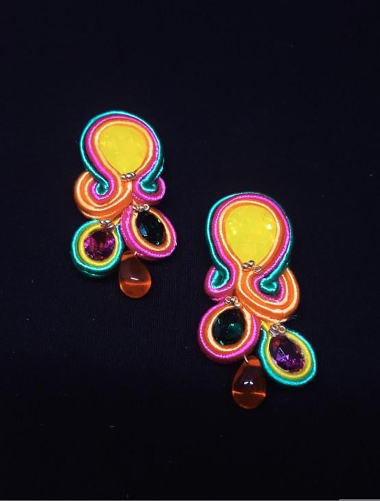 Solal Bijoux Haute Fantaisie boucles d'oreilles jaune orange vert rose