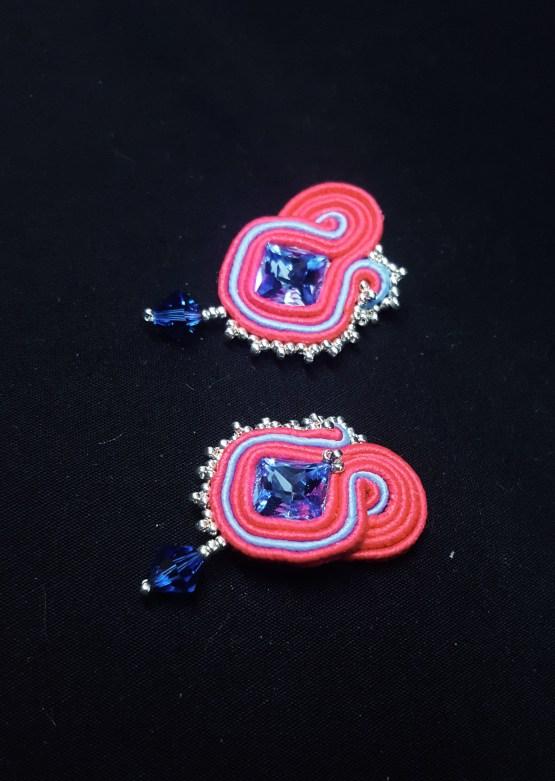 Solal boucles d'oreilles modèle 2 bleu fushia argent 2