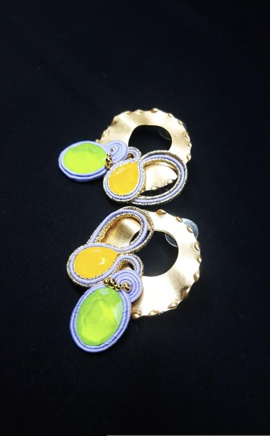 Solal Bijoux Haute Fantaisie Boucles d'oreilles or jeune vert et mauve
