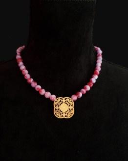 Solal Bijoux Haute Fantaisie collier aimanté de perles en jade lilas et rouge