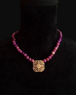 Solal Bijoux Haute Fantaisiecollier aimanté de perles en jaspe impérial mauve