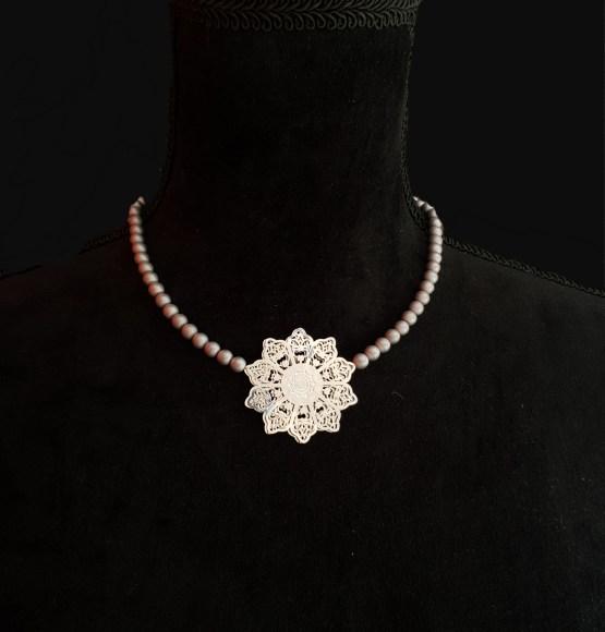Solal Bijoux Haute Fantaisie collier aimanté en perles hématite gris