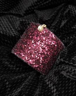 Solal Bijoux Haute Fantaisie Manchette avec manchon réversible noir et glitter bordeau
