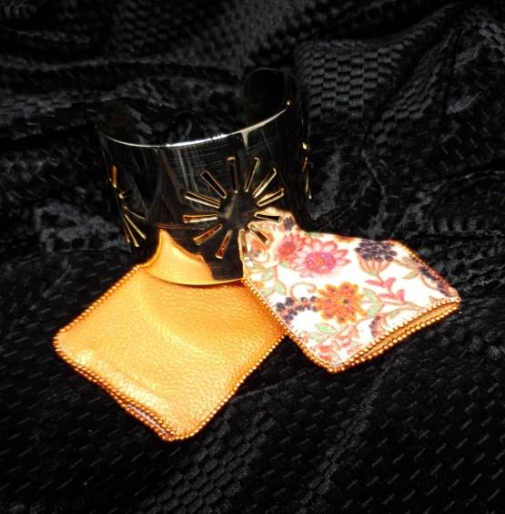 Solal Bijoux Haute Fantaisie manchon réversible orange et glitter imprimé floral