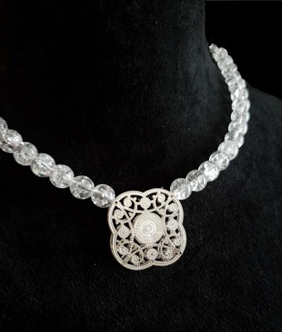 Solal Bijoux Haute Fantaisie collier aimanté de perles en cristal craquelé