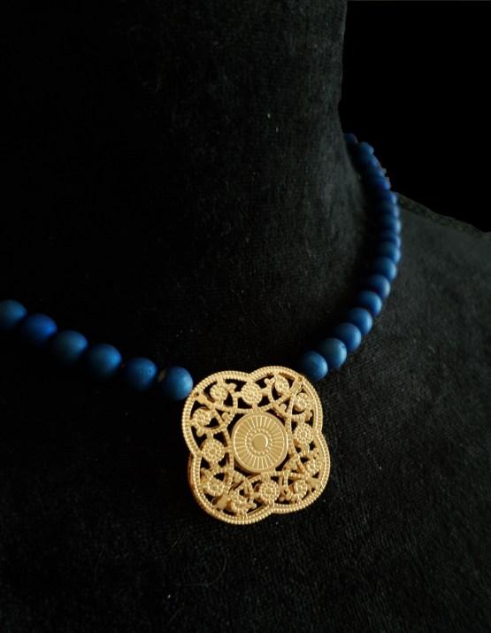 Solal Bijoux Haute Fantaisie collier aimanté de perles en agate druzy bleu