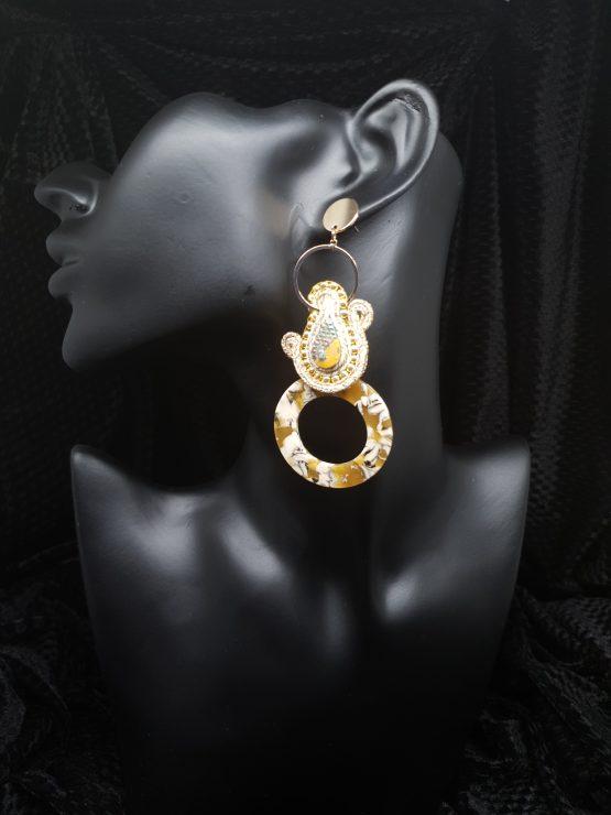 Solal Bijoux Haute Fantaisie boucles d'oreilles beige et or