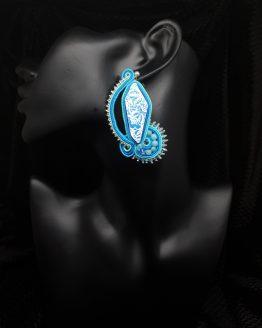 Solal Bijoux Haute Fantaisie boucles d'oreilles bleu vert turquoise argent