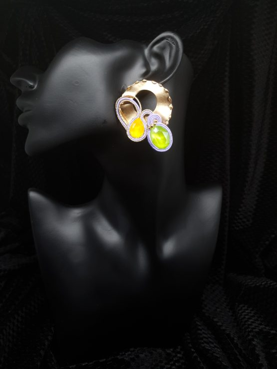 Solal Bijoux Haute Fantaisie Boucles d'oreilles or jaune vert et mauve