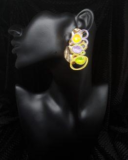 Solal Bijoux Haute Fantaisie boucles d'oreilles or jaune mauve et vert
